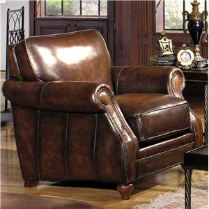 Traditional Leather Stationary Chair with Rolled Arms and Nailhead Trim