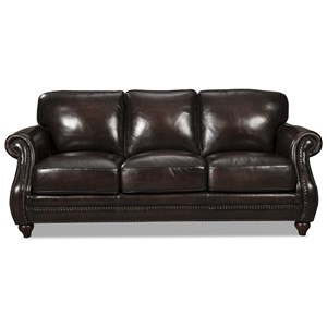 Traditional Leather Sofa with Rolled Arms and Nailhead Trim