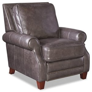 Transitional Leather High Leg Reclining Chair with Nailheads