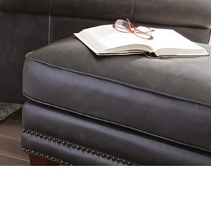 Transitional Leather Ottoman with Nailhead Border