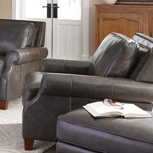Transitional Leather Chair with Nailhead Border
