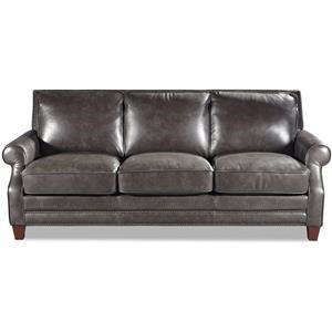 Transitional Leather Sofa with Nailhead Border
