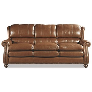 Traditional Leather Sofa with Bustle Back and Nailhead Trim