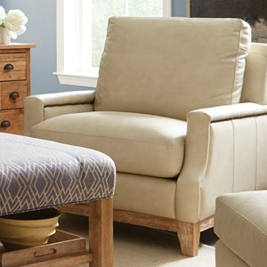 Transitional Nailhead-Studded Chair with Exposed Wood Base Rail