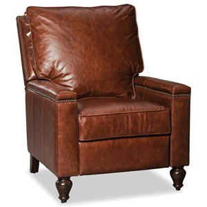 Traditional Leather Push Back Recliner with Nailheads