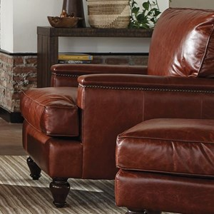Traditional Leather Chair with Nailheads on Arm and Back