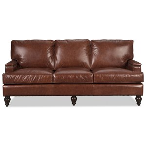 "Traditional 80"" Leather Sofa with Nailheads on Arm and Back"