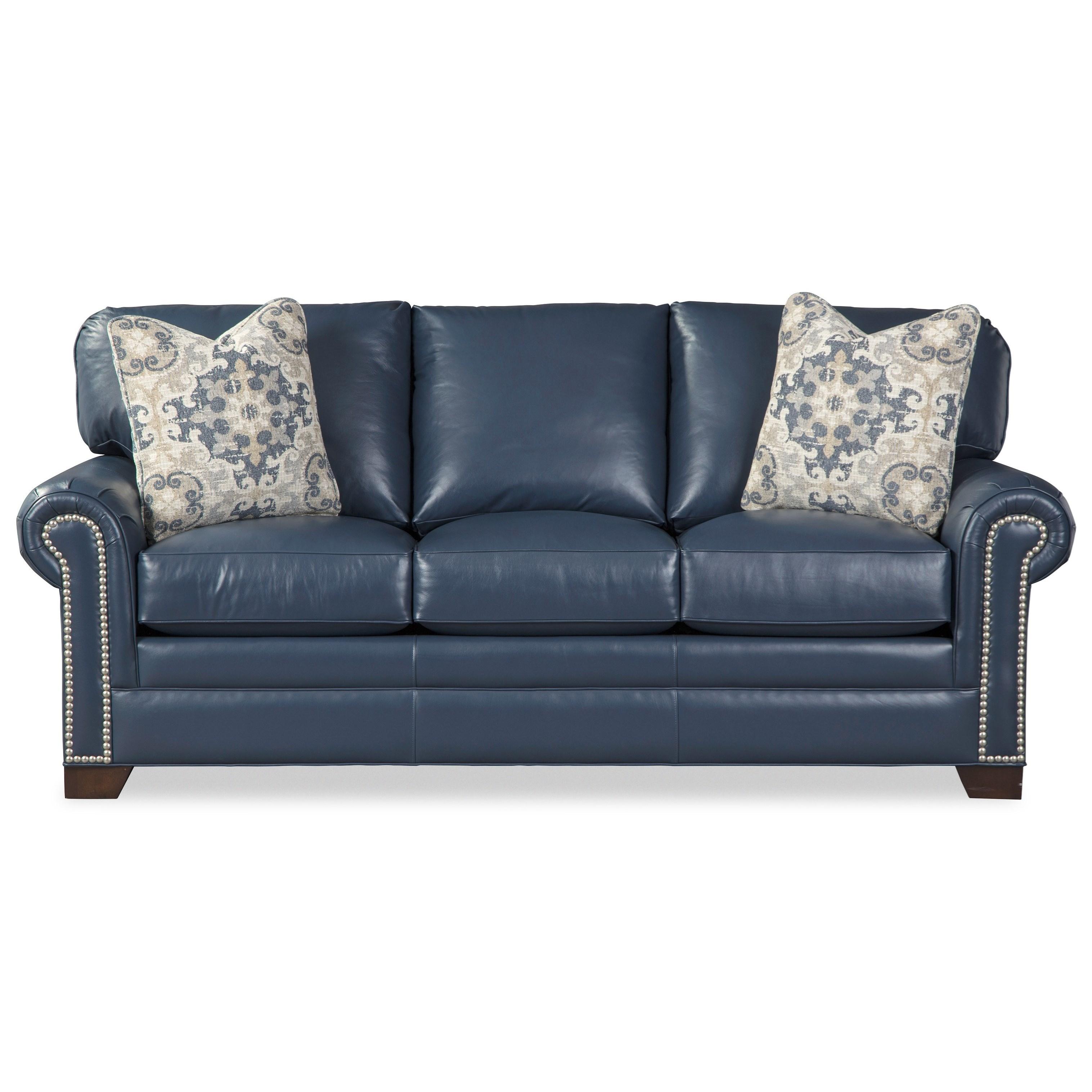 L756550 Sofa w/ Nailheads & Pillows by Craftmaster at Baer's Furniture