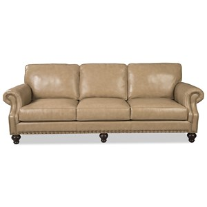 Traditional Leather Sofa with Two Sizes of Nailhead Trim