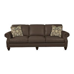 Traditional Leather Sofa with Two Sizes of Nailhead Trim and Pillows