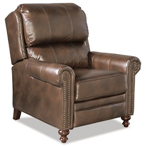 Traditional Leather High Leg Recliner with Nailheads