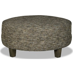 Customizable Large Round Cocktail Ottoman with Welt Cords and Tapered Legs