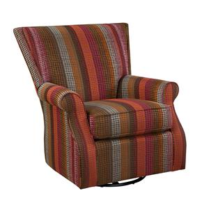 Transitional Swivel Glider Chair with Flared Back