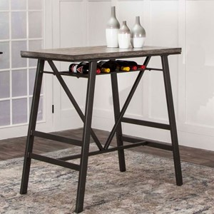 Rectangular Metal Frame Pub Table with Wine Rack