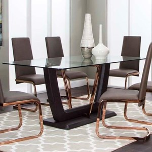 Pedestal Dining Table with Glass Top and Metal Accents