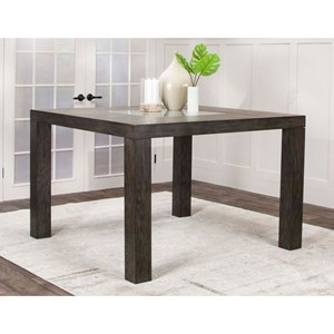 Wooden Square Counter Height Dining Table with Glass insert
