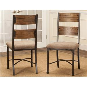 Wood and Metal Dining Side Chair with Upholstered Seat
