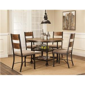 5 Piece Metal and Wood Dining Set