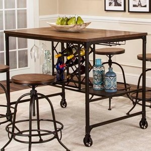 Counter Height Metal and Wood Pub Table