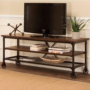 Industrial TV Stand With Open Shelves