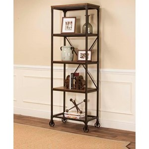 Tall Back Metal & Wood Bookcase with Four Shelves