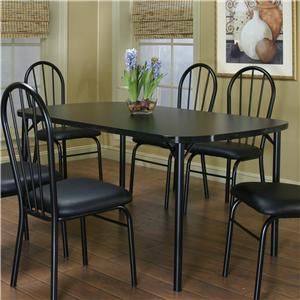 "60"" Bow-End Black Laminate Table"