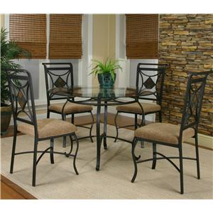 Metal Round Table w/ 4 Side Chairs