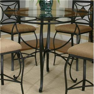 Round Metal Table w/Glass Top