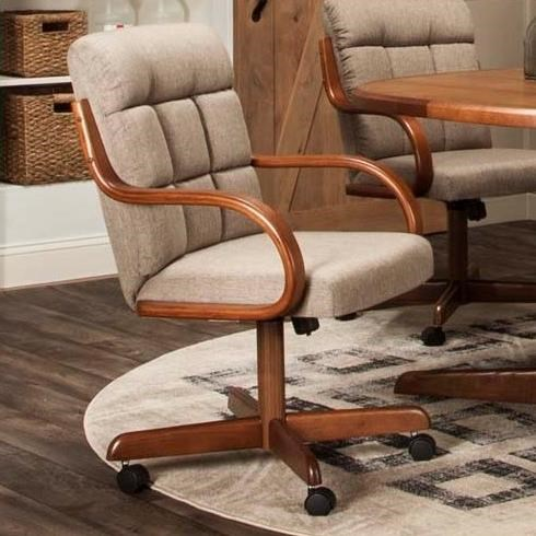 Lakota Toast Fabric Caster Dining Arm Chair by Cramco, Inc at Lapeer Furniture & Mattress Center