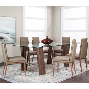 7 Piece Dining Set with Glass Top Table
