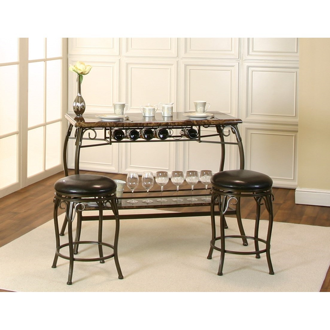Marquette  3-Piece Counter Height Bar and Stool Set at Morris Home