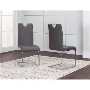 DANA Gray Polyurethane/Chrome Side Chair