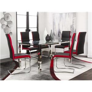Glass Top Table and 4 Side Chair Set