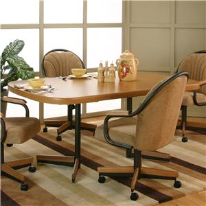 Bow-End Sunset Oak Laminate Dining Table with Espresso Metal Pedestal Base