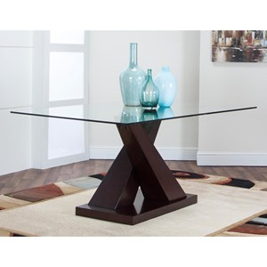 Pedestal Dining Table with Glass Top