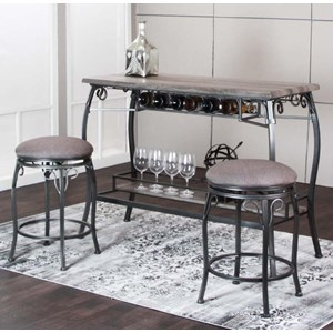 3 Piece Counter Height Bar Table and Stool Set
