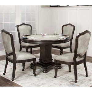 5 Piece Game Table Set with Castered Chairs
