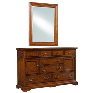 Cresent Fine Furniture Cresent Classics - Casual Living Media Dresser and Landscape Mirror