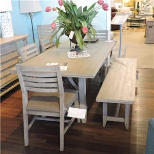 Dining Table, 4 Side Chairs, Bench & Sideboard
