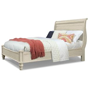 Antiqued White Queen Sleigh Bed