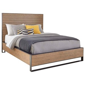King Panel Bed with Steel Framing and Accents