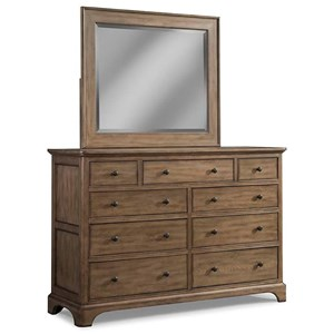 9 Drawer Solid Wood Media Dresser and Mirror Combo