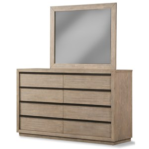 Contemporary 8 Drawer Dresser and Mirror Combo