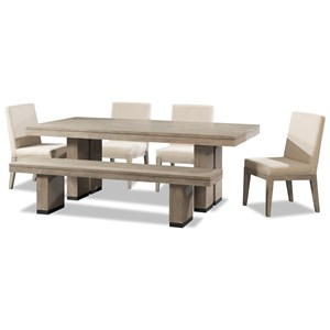 6 Piece Trestle Table and Chair set with Bench