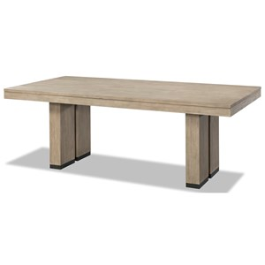 Fixed Trestle Table with Piers and Metal Accent Trim