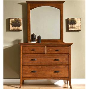 Cresent Fine Furniture Cresent Classics - Modern Shaker Small Dresser & Mirror