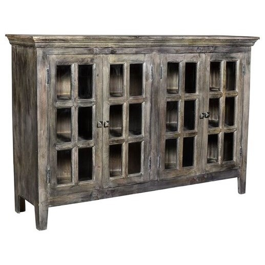 Accent Furniture Acacia Wood 4 Door Sideboard by Crestview Collection at Suburban Furniture