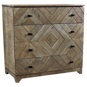 Bengal Manor Acacia Wood Diamond Patterned 4 Drawer Chest