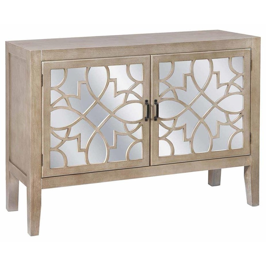 Accent Furniture Veranda 2 Door Sandstone And Mirror Cabinet by Crestview Collection at Rife's Home Furniture