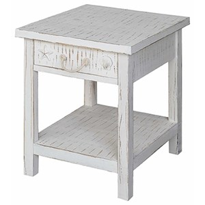 Seaside White Coastal End Table